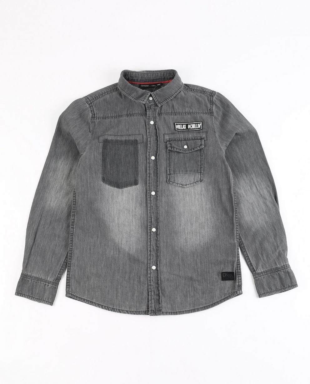 Jeanshemd mit Aufschrift - und Waschung - JBC